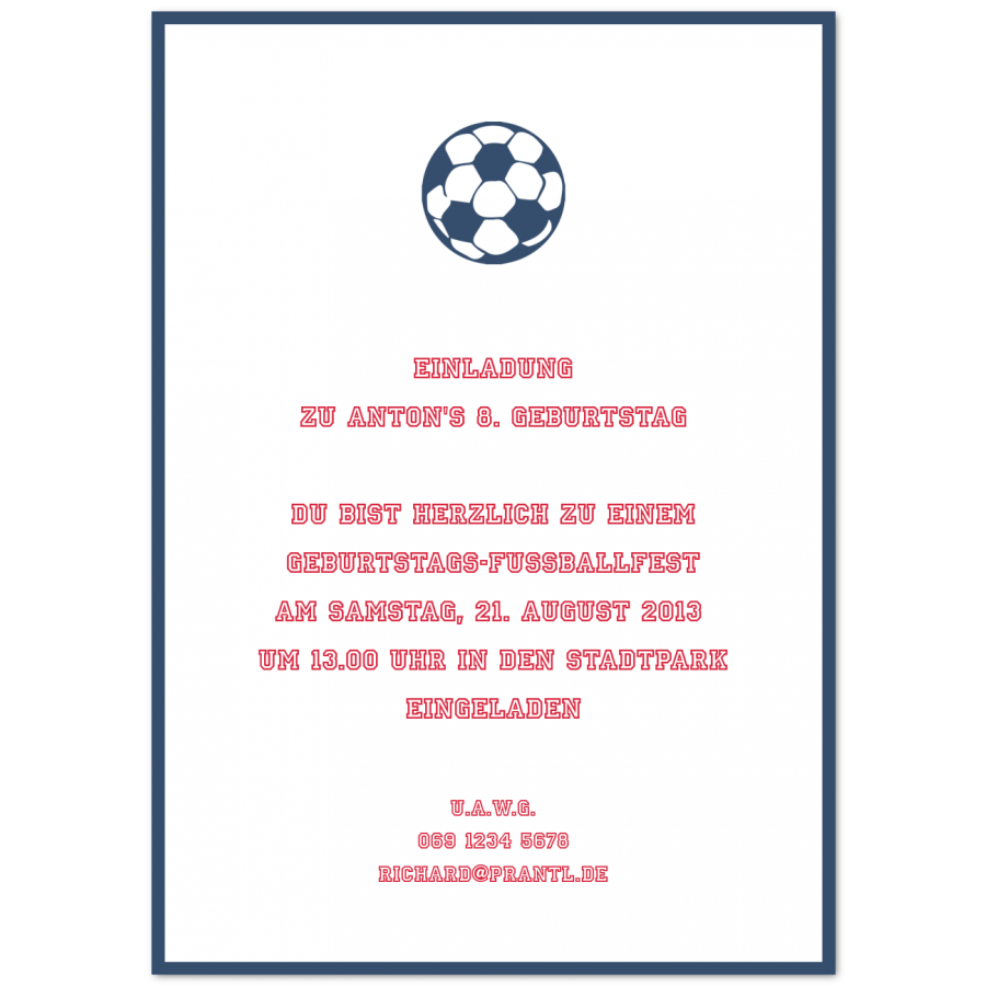 Einladungskarten für Kinder mit Fussball-Motiv | Prantl seit 1797