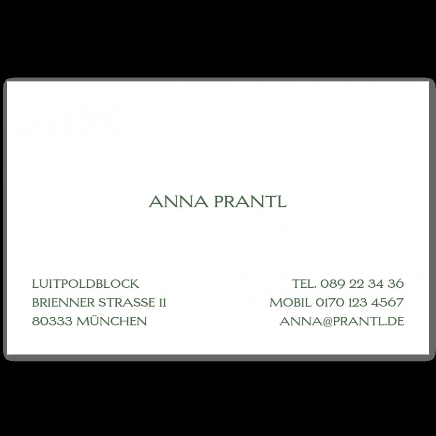 Klassische Visitenkarten Prantl Seit 1797