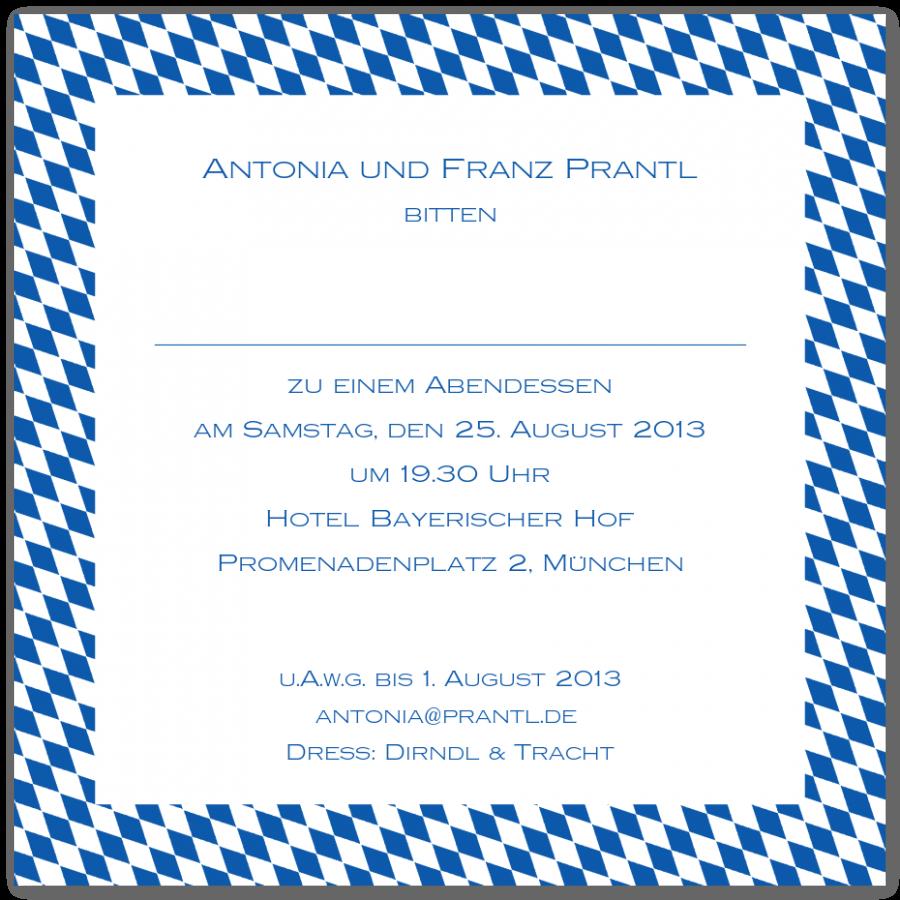 quadratische einladungen mit rauten-rahmen | prantl seit 1797, Einladungsentwurf
