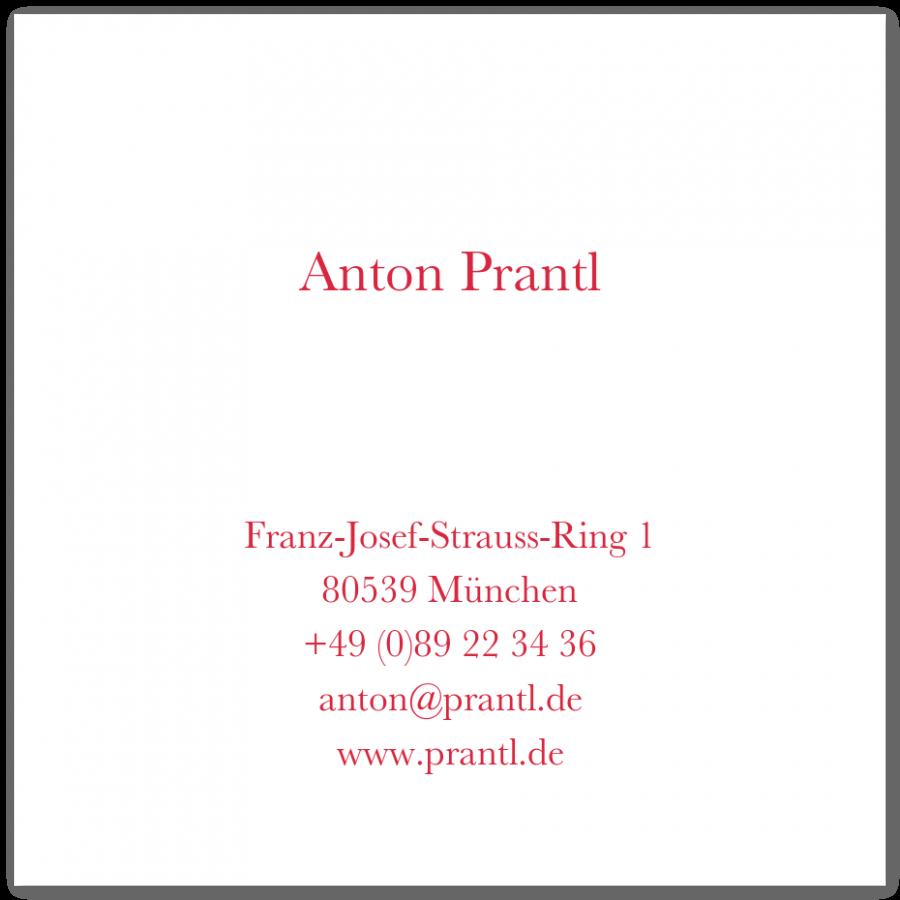 Klassische Quadratische Visitenkarten Prantl Seit 1797