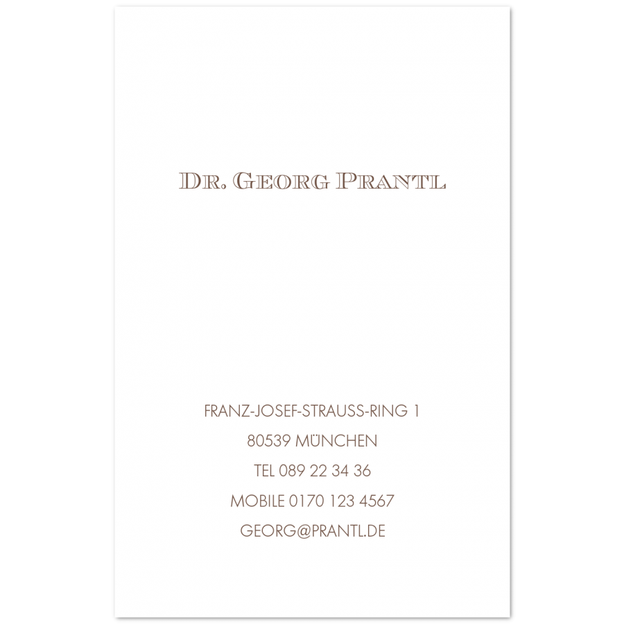 Klassische Visitenkarten Im Hochformat Prantl Seit 1797