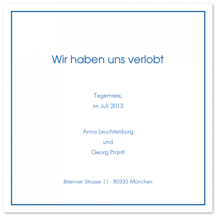 Quadratische Verlobungsanzeigen mit feinem Rahmen | Prantl seit 1797