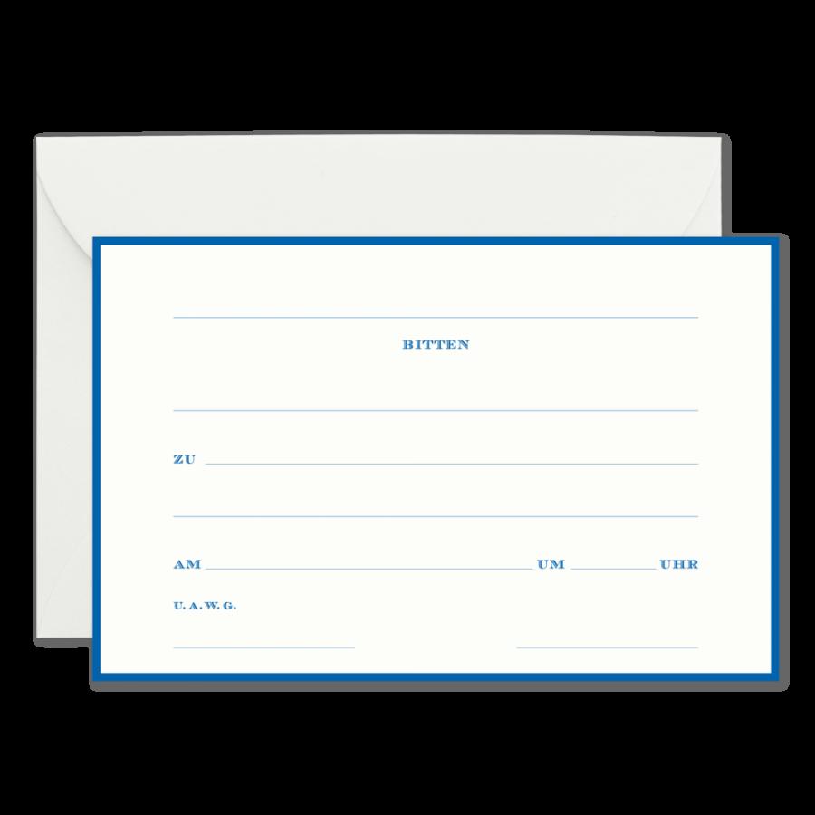 """blanko einladungskarten für paare """"bitten"""" in royal blue"""