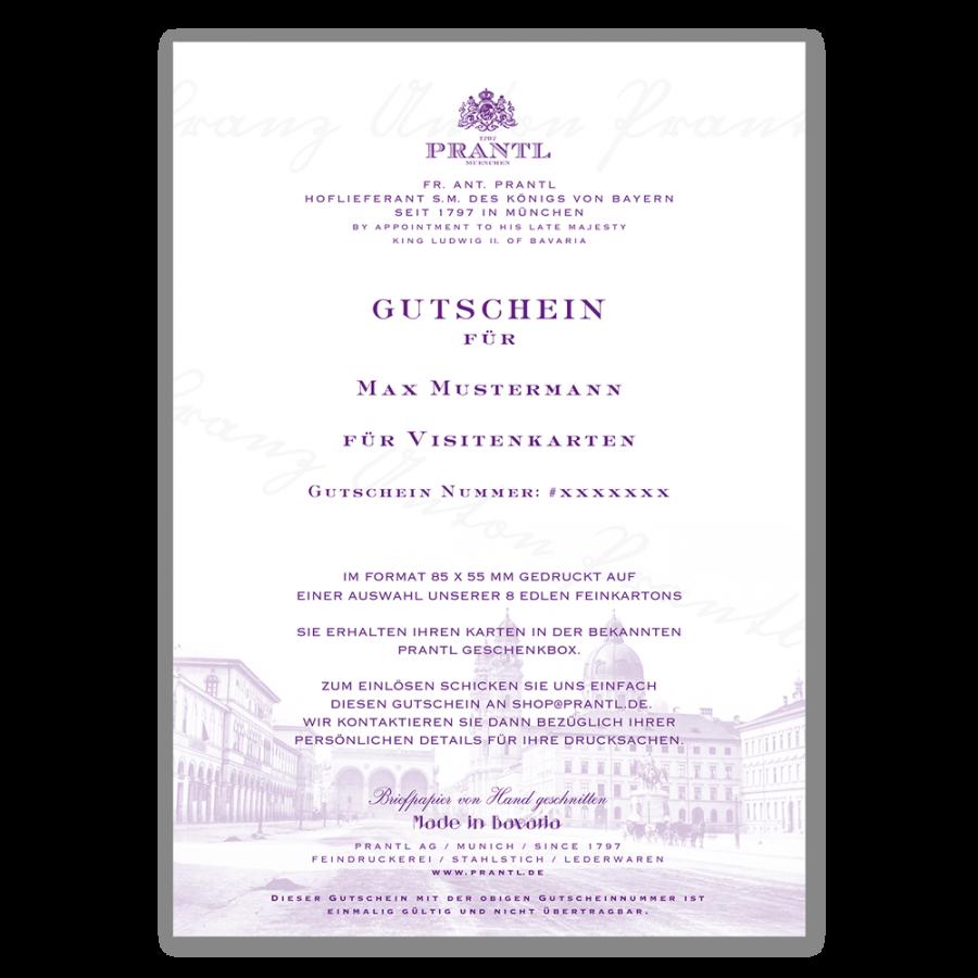 Gutschein Für Visitenkarten Prantl Seit 1797