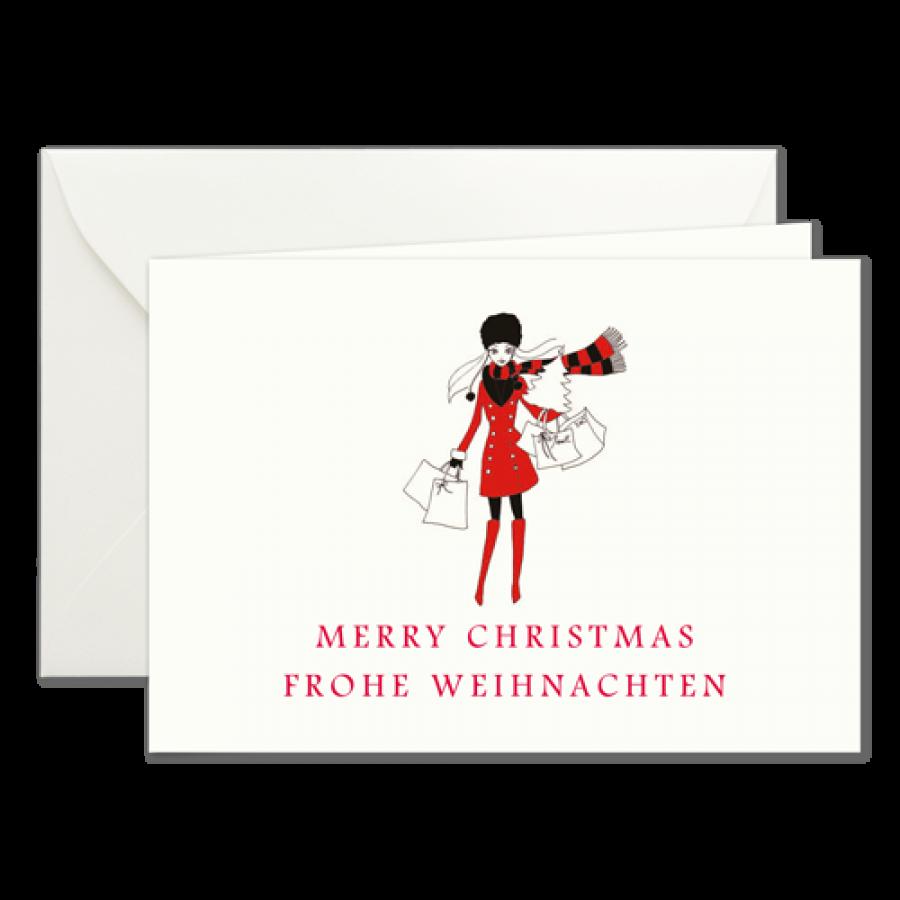 Weihnachtseinkauf, Weihnachtskarten mit einer Illustration von Kera ...