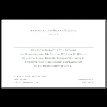 Klassische Konfirmationseinladungen