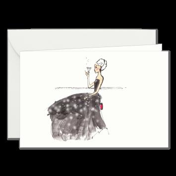 """Einladungskarten """"Abendkleid"""" mit Text """"bitten"""" designed von Kera Till"""