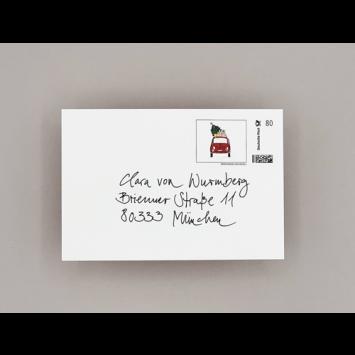 """Briefmarken """"Weihnachts-Fiat, entworfen von Kera Till"""