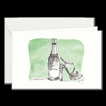 """Einladungskarten """"Champagner"""" mit Text """"bitten"""" designed von Kera Till"""