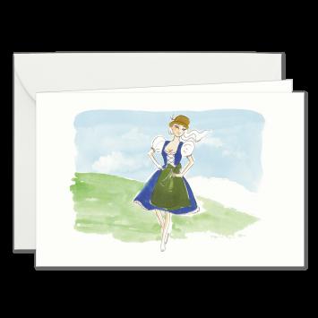 """Einladungskarten """"Dirndl"""" mit Text """"bitten"""" designed von Kera Till"""