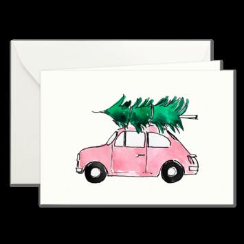 Rosa Fiat, illustrierte Weihnachtskarten von Kera Till