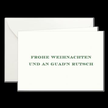 Frohe Weihnachten & Guad'n Rutsch, Klappkarten in Dunkelgrün