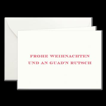 Frohe Weihnachten & Guad'n Rutsch, Klappkarten in Rot