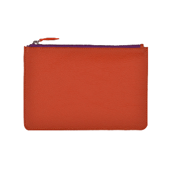 Grosse Leder Pouch in orange