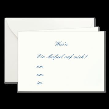 Maßerl, Einladungskarten zur Wies'n in Blau