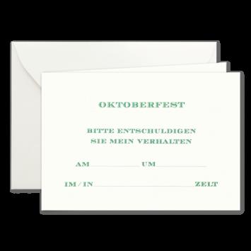 Oktoberfest, Einladungskarten zur Wies'n in Grün