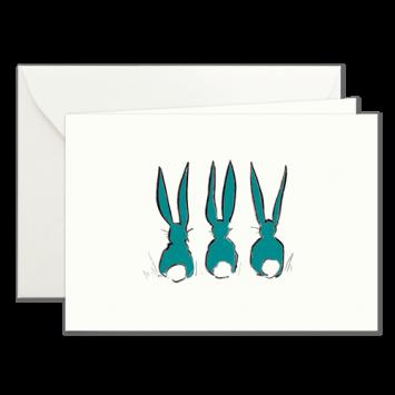 Osterhasen in Grün, illustrierte Osterkarten von Kera Till