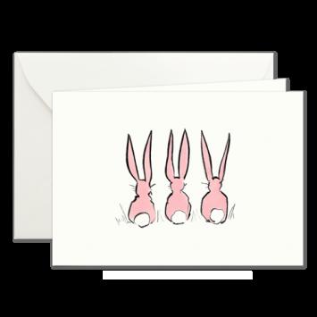 Osterhasen in Pink, illustrierte Osterkarten von Kera Till