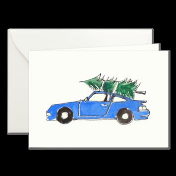 Blauer Porsche, illustrierte Weihnachtskarten von Kera Till
