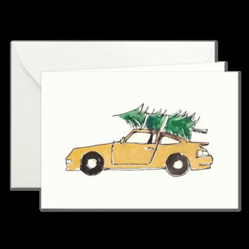 Gelber Porsche, illustrierte Weihnachtskarten von Kera Till