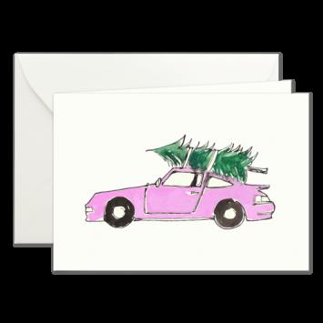 Lila Porsche, illustrierte Weihnachtskarten von Kera Till