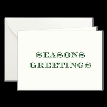 Seasons Greetings, Klappkarten in Dunkelgrün