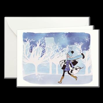 Winterspaziergang, illustrierte Weihnachtskarten von Kera Till